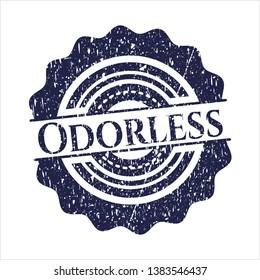 Blue Odorless grunge style stamp