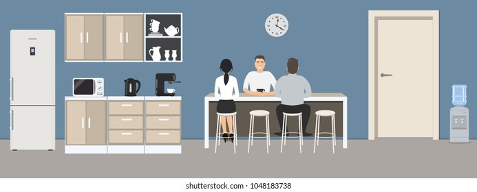 Blue office kitchen. Dining room in the office. Employees are sitting at the table. Coffee break. There are kitchen cabinets, a fridge, a microwave, a kettle and a coffee machine in the image. Vector