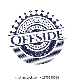 Blue Offside distressed rubber seal