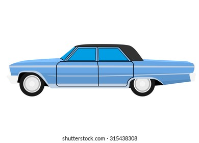 Blue Old car. Isolated on whit background