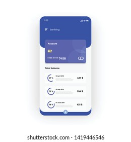 Blue online banking UI, UX, GUI screen for mobile apps design. Modern responsive user interface design of mobile applications including Bank account screen. Blue card, total balance