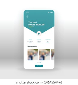 Blue online TV UI, UX, GUI screen for mobile apps design. Modern responsive user interface design of mobile applications including online movie screen
