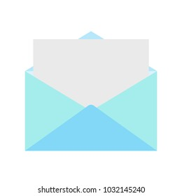 Blue open envelope with paper