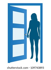 Blue opened door with woman's silhouette, vector