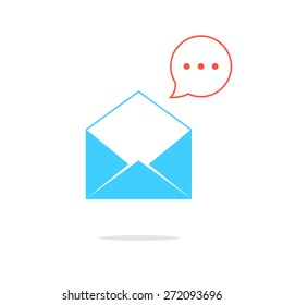 blue opened letter with red speech bubble. concept of sms, spam, writing, postcard, salutation, chatting, mailbox, textual talking, checking email. flat style modern logo design vector illustration