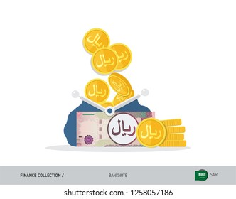 Blue opened purse with 100 Saudi Arabia Riyal and coins. Flat style vector illustration. Business concept.