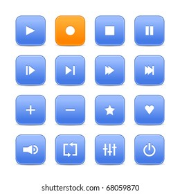Blue and orange 16 media control web 2.0 buttons. Rounded square shapes with shadow on white