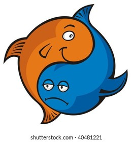 Blue and orange cartoon fish yin yang or pisces symbol