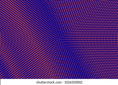 Blue orange dotted halftone. Diagonal faded dotted gradient. Half tone vector background. Artificial texture. Red dots on blue backdrop. Modern pop art design template. Neon halftone texture