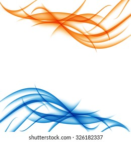 Blue and orange funky waves abstract background. Vector illustration