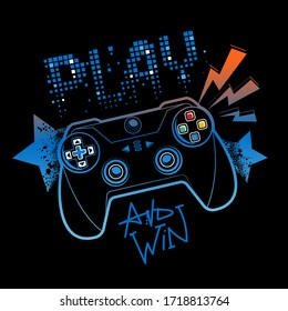 Blue and orange gamepad illustration with pixel text Play and graffiti stars on black background.  Gamer elements for boy t shirt design