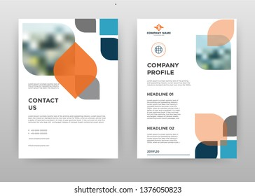 Blue orange gray options business brochure flyer design. Multipurpose abstract brochure template cover & back pages. Geometric leaflet vector design. Annual report presentation. Vertical A4 size