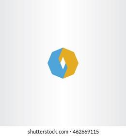 blue orange octagon logo icon vector abstract design