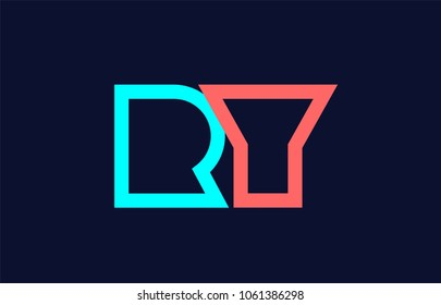 blue orange pastel alphabet letter ry r y logo combination design suitable for a company
