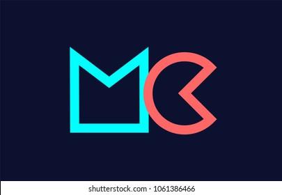 blue orange pastel alphabet letter mc m c logo combination design suitable for a company