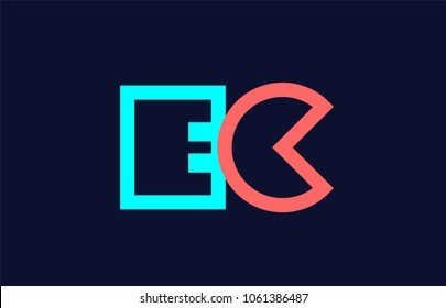 blue orange pastel alphabet letter ec e c logo combination design suitable for a company