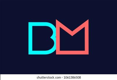 blue orange pastel alphabet letter bm b m logo combination design suitable for a company