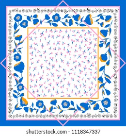 Blue, orange, pink ornate pattern on white background. Ready for print.