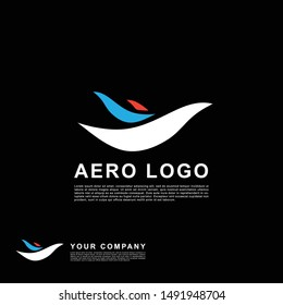 Blue and orange plane logo template design