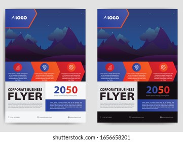 blue orange red flyer, vector cover poster brochure template design in a4 size