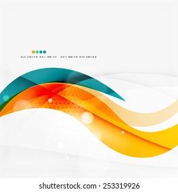 Blue, orange, red swirl wave lines. Light design for art project