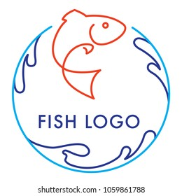 Blue orange round logo icon vector design with salmon fish and waves isolated on white background. Seafood restaurant idea.