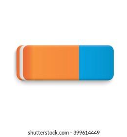 Blue Orange Rubber Eraser Realistic Vector.