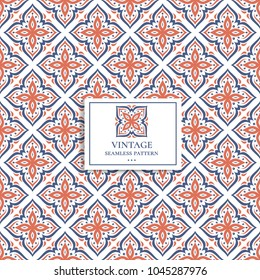 Blue and orange seamless pattern. Geometric. Ornament.Luxury elements. Traditional, Ethnic, Arabic, Turkish, Indian motifs. Great for fabric and textile, wallpaper, packaging or any desired idea.