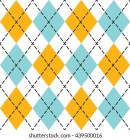 Blue and orange trendy argyle seamless pattern - Modern design in teal, blue, and black