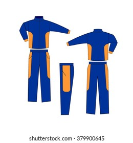 Blue and Orange Varsity Uniform, Suit sports, consisting of a jacket and trousers mockup