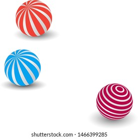 Blue, orange,pink balls 3d vector  accessories  for celebration days on white background. Circle object colorful illustration.