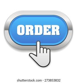 Blue order button with metallic border on white background