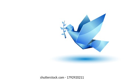 Blue origami flying dove with branch on white background with copy space place.
