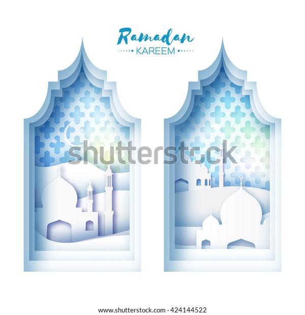 Blue Origami Mosque Window Ramadan Kareem Stock Vector ... on jerusalem window, jesus window, valentines day window, thank you window, fashion window, new year window,