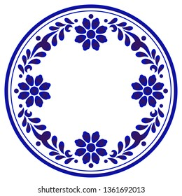 blue ornamental floral round, Porcelain decorative art frame, Abstract vector flower ornament border, ceramic floral cycle pattern, China blue and white plate template design, vector illustration