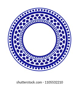 blue ornamental round, Decorative art frame, Abstract vector ornament border Greek style, porcelain pattern design. China blue and white