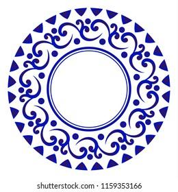 blue ornamental round, Decorative art frame, Abstract vector ornament border ceramic design, porcelain pattern template, China blue and white border, vector illustration