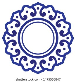 Blue ornamental round, Decorative circle art frame, Abstract floral ornament border, porcelain pattern design, China blue and white element decor, place for text, ceramic tile, vector illustration