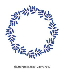 blue ornamental round frame, Decorative leaves circle vector. Abstract floral ornament border, porcelain pattern design. China blue and white