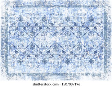 Blue ornamental vector design for rug, tapis, blanket, shawl.  Geometric ethnic template. Arabian ornamental carpet with decorative elements. Persian abstract folk design. Aging effect