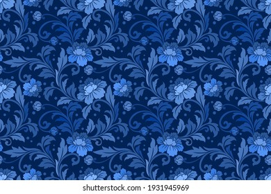 Blue ornate damask flower ornament seamless pattern. This seamless pattern is suitable for fabrics, textiles, gift wrapping, wallpaper, background, backdrop.