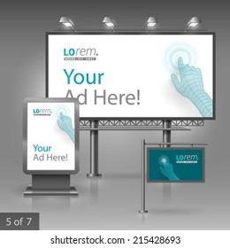 Blue outdoor advertising design for company. Digital hand touching screen. Elements of stationery.