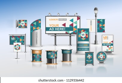 Blue outdoor advertising design for corporate identity with color geometric elements. Stationery set
