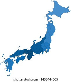 Blue outline Japan map on white background.