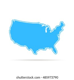 blue outline usa map with shadow. concept of mapping, hand drawn decoration, trip, education, federal. flat style trend modern logotype design vector illustration on white background