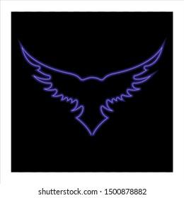 blue outline wings on black background.