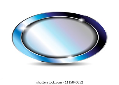Blue oval background with a shiny frame, with space for your text. Vector illustration