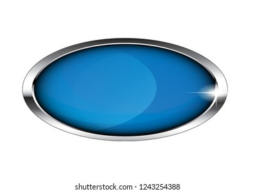 Blue oval winter-themed background with a silver frame. Vector illustration.