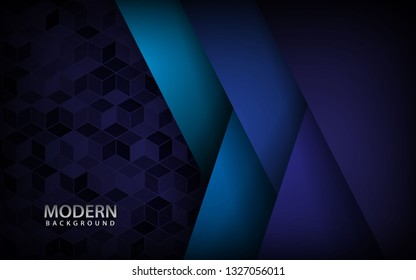 Blue overlap background vector. Realistic overlap layer on cubes pattern background. vector illustration.