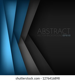 Blue overlap layer with black space vector background